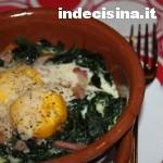 Spinaci con uova e pancetta